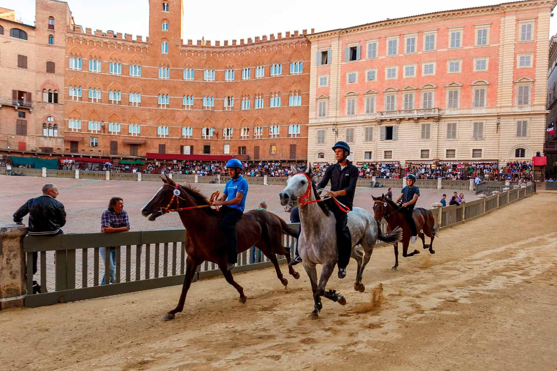 """LE CORSE DI NOTTE - La """"Prova di Notte"""" è la prima opportunità, offerta ai cavalli, per provare il terreno di gara dove soltanto dieci di loro si confronteranno nel giorno del Palio."""
