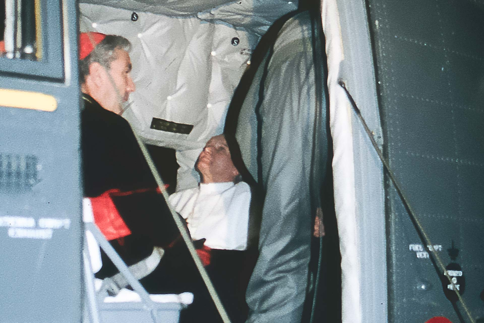 The Pope in the helicopter together with Cardinal Salvatore Pappalardo, just before leaving Palermo.