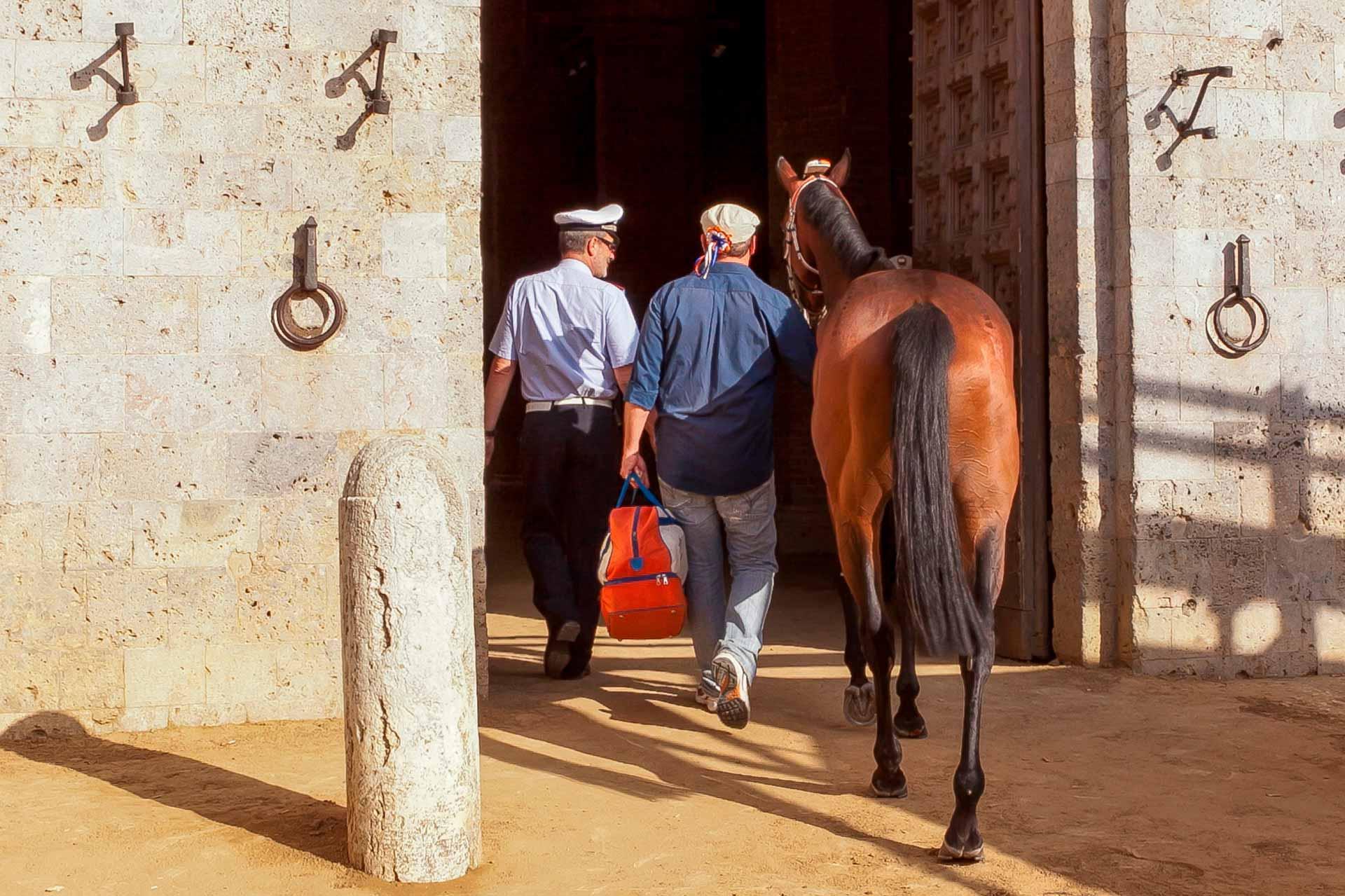 LA PRIMA PROVA - Una volta giunti in Piazza, il barbaresco introduce il cavallo all'interno del cortile del Podestà, dove gli verrà assegnata una postazione, che manterrà per tutte le sei prove previste e il Palio.