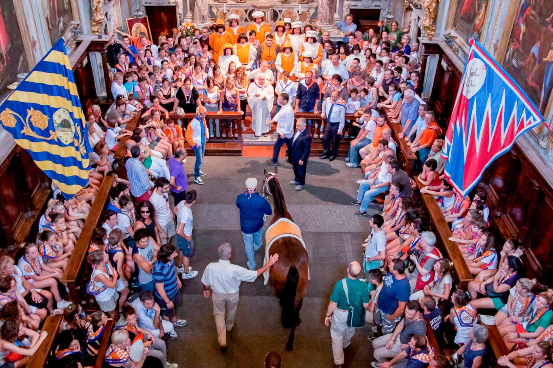 LA BENEDIZIONE DEL BARBERO – È il 2 luglio, il giorno magico, tutto è pronto. Sto per assistere a qualcosa di sensazionale: la benedizione del Bàrbero. È una condizione in cui, il Sacro e il profano, elementi caratterizzanti di tutta la Festa, trovano la loro massima espressione: il cavallo accompagnato dal barbaresco, varca la soglia di un ambiente sacro.